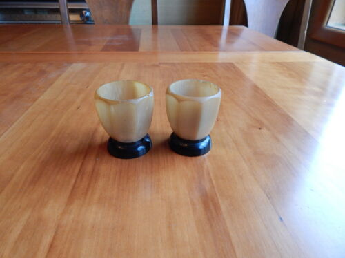 Two Scottish Horn Egg Cups Octagon Shaped
