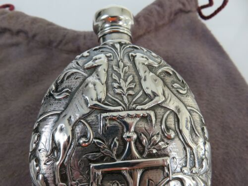 Diminutive Tiffany & Co Aesthetic Sterling Silver Vest Pocket Racing Flask c1880