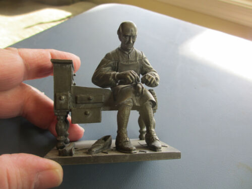 VINTAGE PEWTER FIGURE SCULPTURE - THE SHOEMAKER - COLONIAL AMERICA TRADE PEOPLE