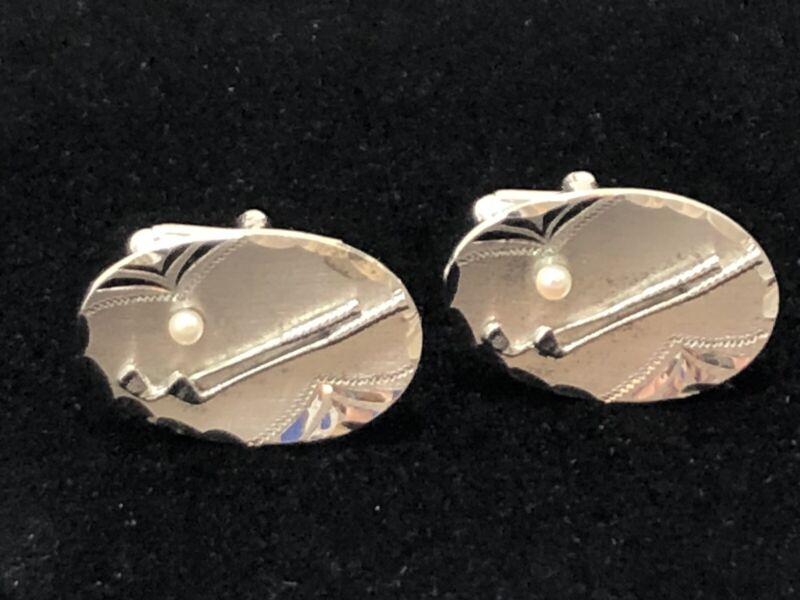 Vintage Anson Sterling Silver Seed Pearl Mid Century Golfer Golf Club Cufflinks