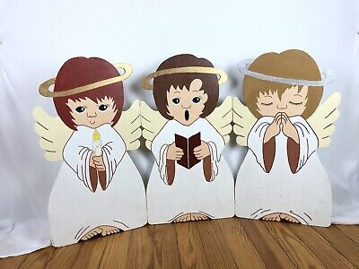 Vintage Wood Cutout Hand painted Christmas Angels Outdoor Yard Lawn Art Decor