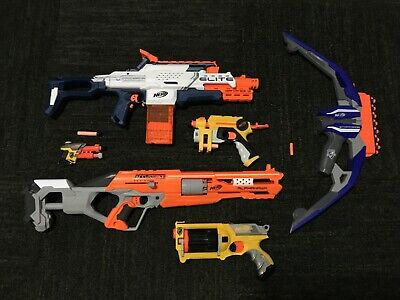 Nerf Gun Lot of 6 (5 guns, 1 bow), Great Condition