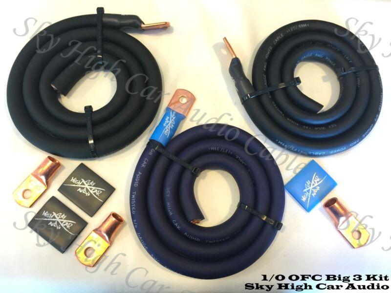 Sky High Oversized 1/0 Gauge OFC AWG Big 3 Upgrade BLUE/BLACK Electrical Wiring