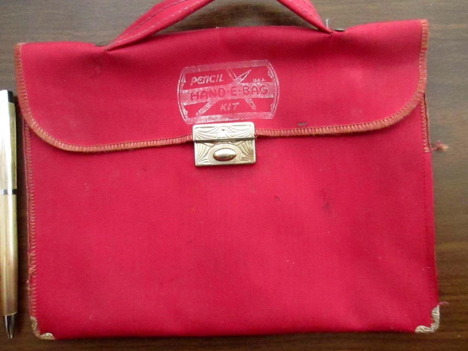 Vtg 40s Tiny Handbag Bag Purse Vegan Metal Corner