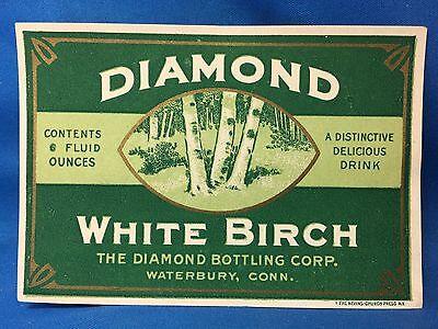 c. 1930 DIAMOND WHITE BIRCH Soda Bottle Label WATERBURY CONN Original Vintage