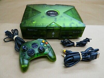Original Xbox Halo Special Edition Translucent Green Console & Contoler Great