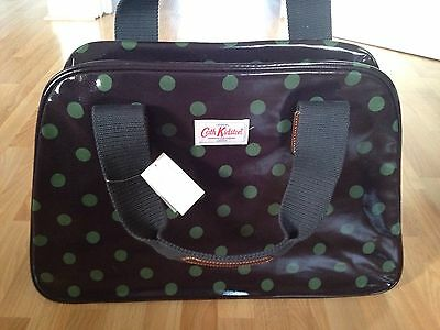 BNWT Cath Kidston Overnight Bag Oilcloth Charcoal & Green Button Spot -RRP £65