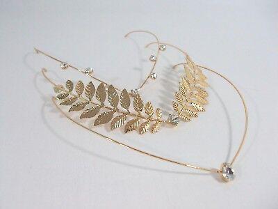 Rhinestone Headband Leaf Crown Grecian Goddess Head Jewelry Simple Gold Dainty