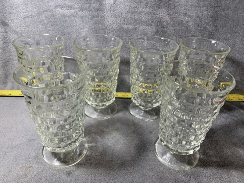 """(6) Vintage Clear Colony Glass Whitehall Cubist Footed Iced Tea Glasses 6"""" 12 Oz"""