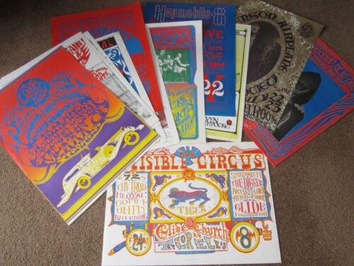 VINTAGE >> Lot of 12 Psychedelic Rock Concert posters 1960