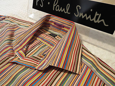 "PAUL SMITH Mens Shirt 🌍 Size 16"" (CHEST 44"") 🌎RRP £95+ 📮 ICONIC MULTI STRIPES"