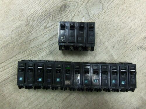 Nice Lot GE General Electric TQL-AC 1 Pole 15A, 20A Circuit Breakers