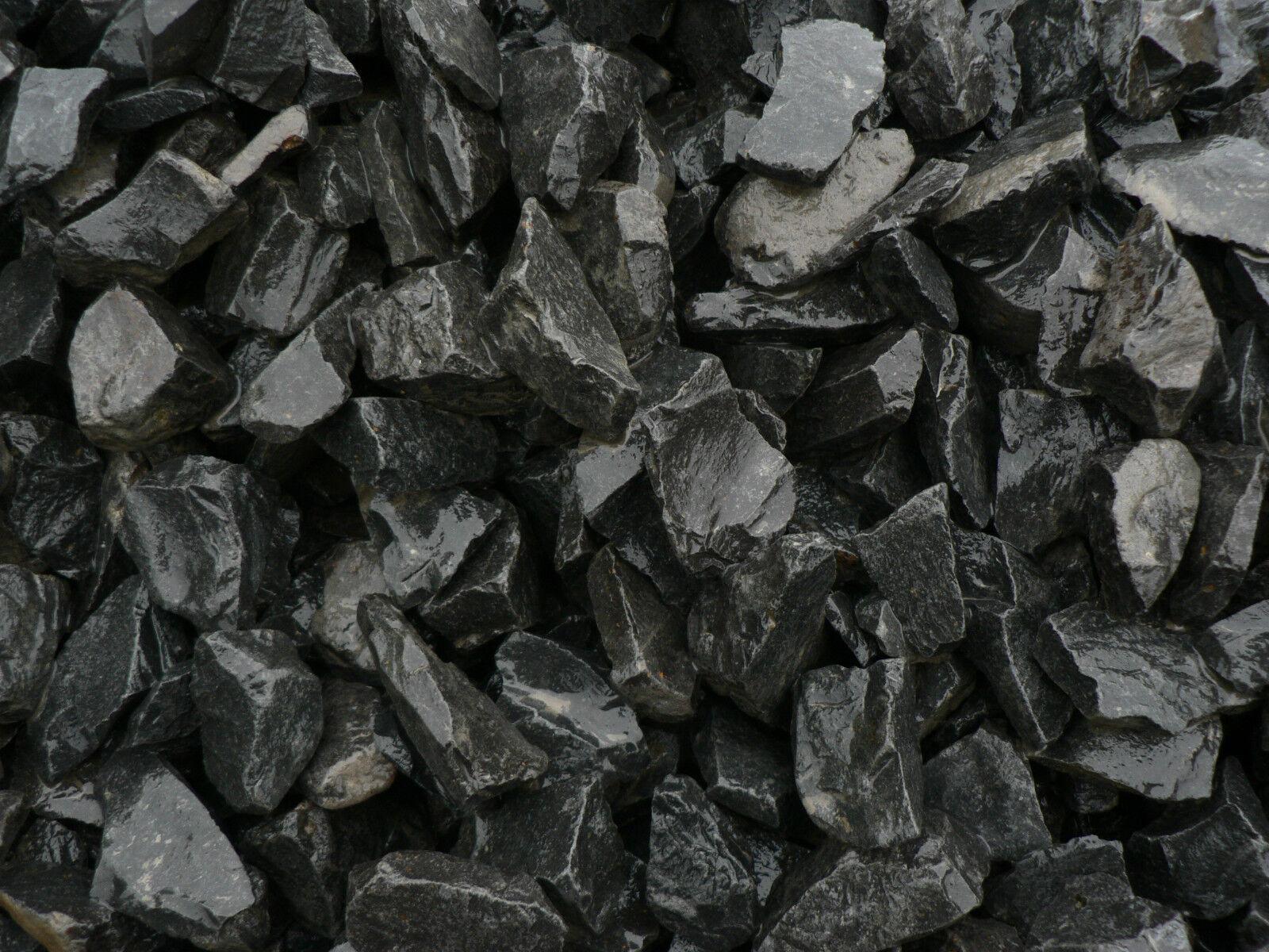 1000 Kg. Basalt Zierkies Gartenkies Splitt anthrazit schwarz Splitt Garten