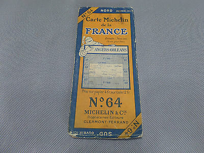 Card Michelin No 64 Angers-Orleans 1926/Collector Bibendum Vintage