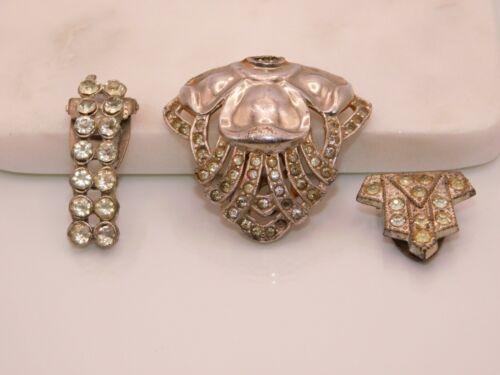 Vintage Antique Silver Tone & Rhinestone Dress Clip Fur Clip Lot