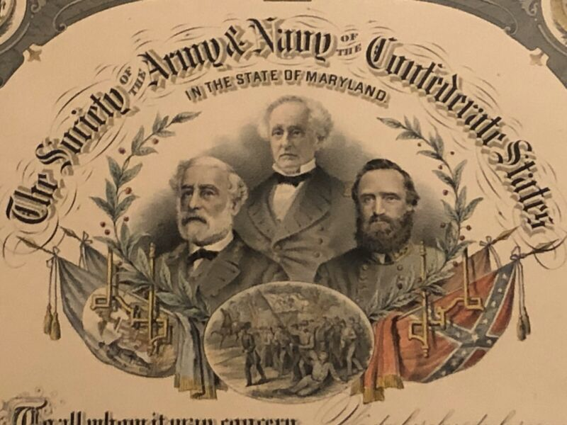 Society Army Navy of Confederate States in Maryland membership certificate 189_