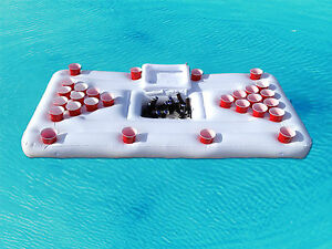 party barge inflatable swimming pool beer pong table and floating drink cooler ebay
