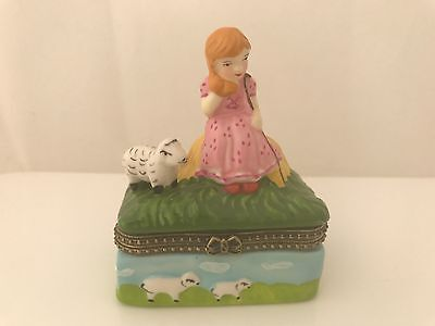 Little Bow Peep Ceramic Trinket Box with Hinged Lid Made in - Little Bow Peep