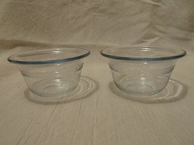 Two Vintage Fire King Sapphire Blue Custard Cups