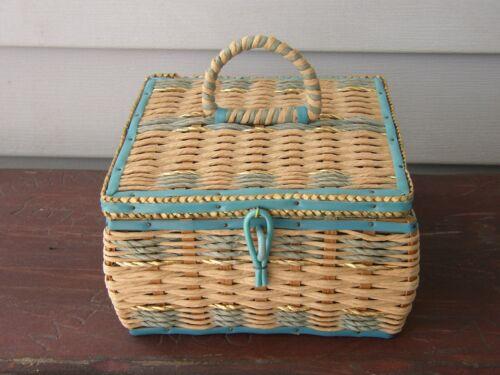"HTF~Small Child-Size 6.5"" SEWING BASKET Notions Box Handle Japan Aqua Blue Gold"