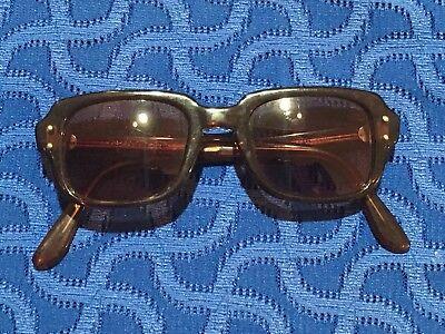 Vintage ROMCO Thick Brown Plastic Military Mens Eyeglasses Sunglasses Frames
