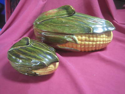 """Set of 2 Shawnee USA  Corn King Covered Serving Dishes Bowls 11"""" x 6"""" & 6"""" x 4"""""""