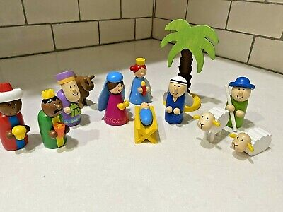 Wooden NATIVITY Set Colorful Whimsical Simple Set of 12