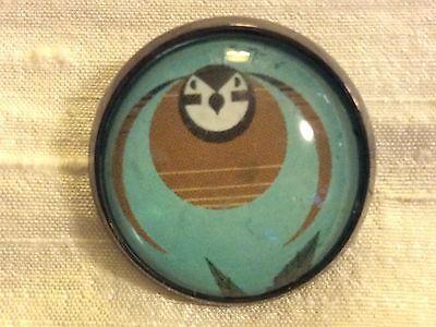"Charley Harper Bird Flight 1"" Glass Metal Sewing Button Mid Century Charles Ch50"