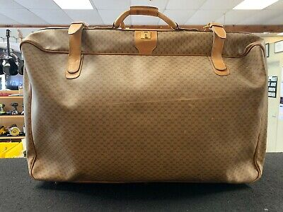 Vintage GUCCI Monogram leather Suitcase Luggage Travel Bag Large