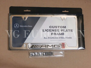 Mercedes-Benz Genuine Polished Stainless Steel License Plate Frame AMG Logo NEW