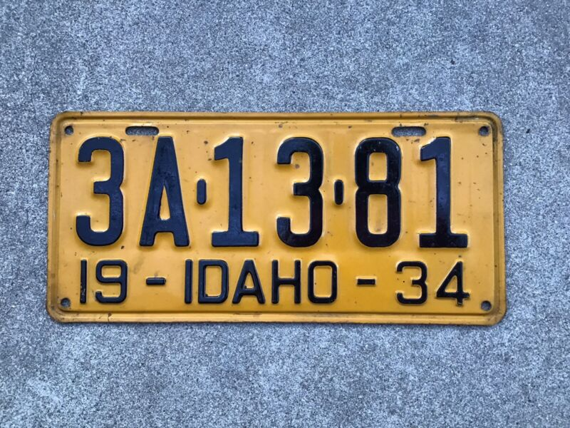 1934 - IDAHO LICENSE PLATE - ORIGINAL PAINT