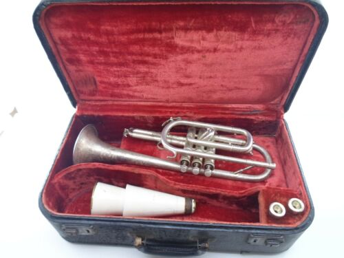 Vintage Silver Cornet 9665 Floral Etching w/ Case Mute & 2 Mouthpieces Antique
