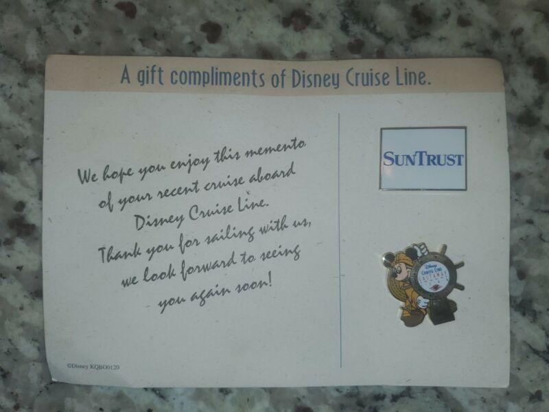 DISNEY Cruise Line Castaway Club Mickey Mouse Sailor Lapel Pin + Sun Trust Pin!