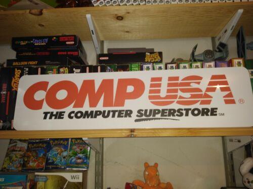 "COMPUSA Sign, 6"" x 24"" Aluminium display, Comp USA !!!"