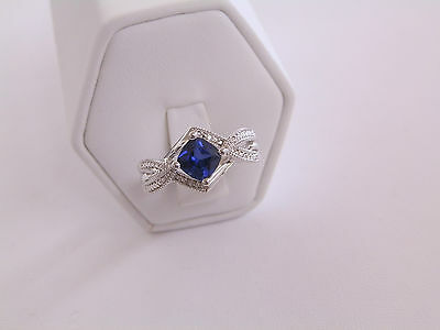 Sapphire with Diamond Accents Sterling Ring approx. Sz 7
