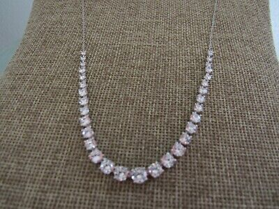 Nordstrom cubic zirconia row statement necklace silver plated