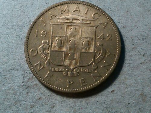 Jamaica 1 penny 1942 WWII period coin