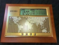 Seiko QHL020B Executive Desk World Time Digital Clock/Calendar Dual Alarms WORKS