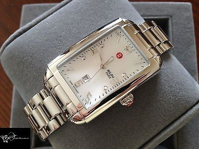 BRAND NEW MICHELE MWW15C000044 MILOU PARK MOTHER-OF-PEARL SILVER WOMENS WATCH