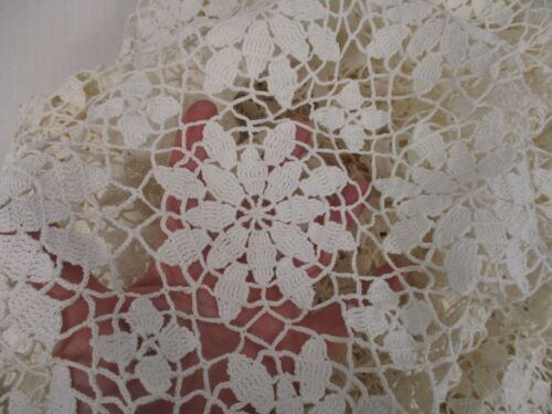 """ANTIQUE IVORY HAND CROCHET TABLECLOTH with PINWHEEL FLOWER PATTERN 66"""" X 84"""""""