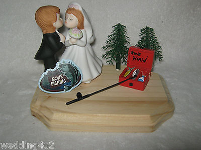 Wedding Party Reception ~Fishing Fisherman~ Cake Topper Pole Tackle Box Kissing (Fishing Cake Toppers)