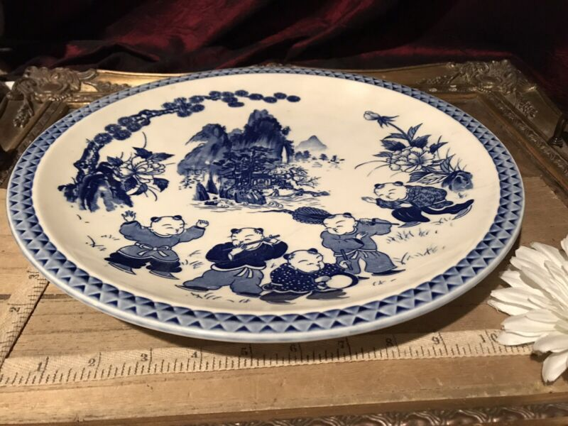 Antique Vintage Asian Porcelain Blue White Kids Playing Music Wall Plate 12 1/2""