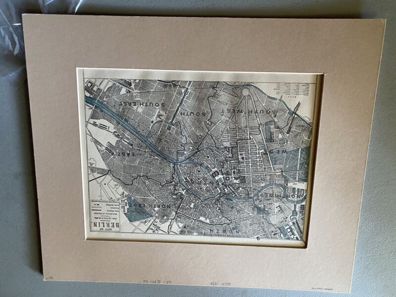 1893 anitique two sided map berlin/germany