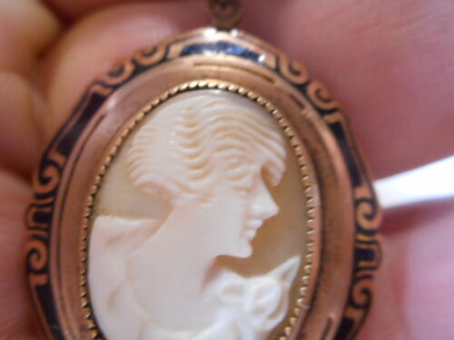 1930s Art Deco Carved shell Cameo NECKLACE w/ Black Enamel