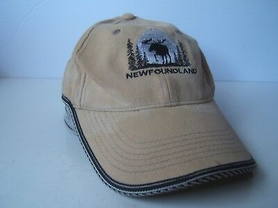 Newfoundland Moose Hat Beige Hook Loop Baseball Cap