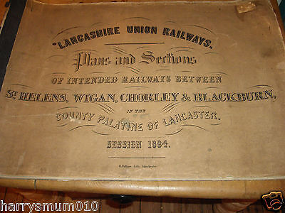 Lancashire Union Railways plan 1864  St Helens Wigan |Chorley & Blackburn