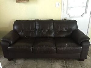 Cool Expresso Brown Genuine Leather Couch / Sofa