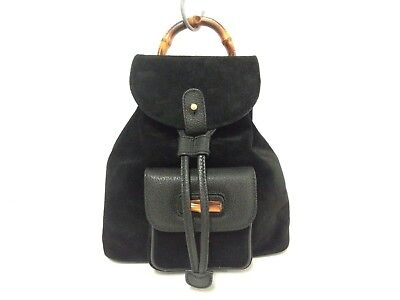 Auth GUCCI Bamboo Black Suede Leather Backpack