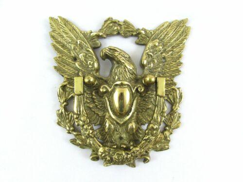"""Vintage Solid Brass Eagle Door Knocker Large 8"""" x 8"""" Federal Shield"""