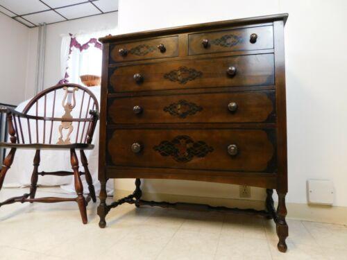 Antique 1920s Stickley Bros Quaint American Arts & Crafts Highboy Chest Dresser